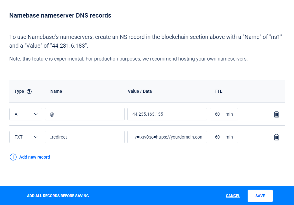 Redirecting Handshake root domains